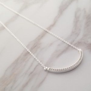 925 Sterling Silver Curvy CZ Bar with Chain